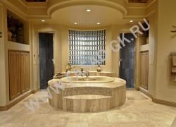 Отделка ванной комнаты из травертина Волнут
