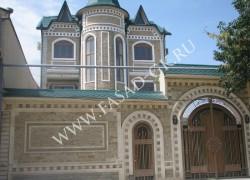 Облицовка фасада и забора доломитом в сочетании с дагестанским песчаником